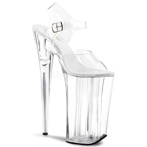 Durchsichtige extrem High Heels Sandalette mit Riemchen und Plateau BEYOND-008